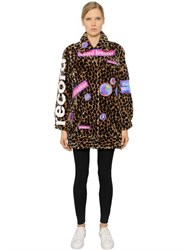 Omelya Embroidered Patches On Faux Fur Coat