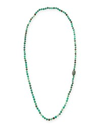 Green Moss Opal Necklace With Diamonds And Emeralds 45' Siena Jewelry