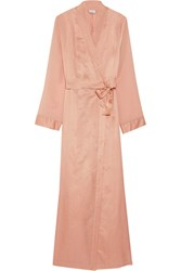 La Perla Jazz Time Silk Chiffon Trimmed Cotton Muslin Robe Antique Rose