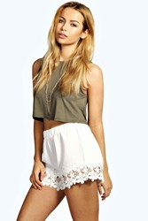 Boohoo Crochet Trim Shorts Cream