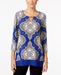 Jm Collection Printed Keyhole Top Only At Macy's Blue Medallion