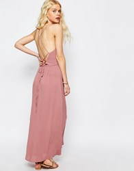 Asos Maxi Dress With Tie Back Dusky Pink