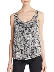 French Connection Sequined Paisley Print Tank Black Multi