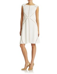 Adrianna Papell Sleeveless A Line Dress Ivory