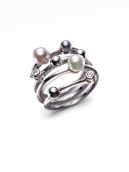 Majorica 4Mm Multicolor Round Pearl And Sterling Silver Endless Wrap Ring