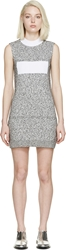 Paco Rabanne Black And White Marled Knit Dress