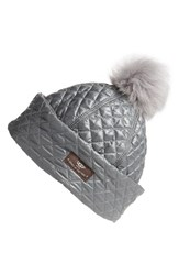 Uggr Women's Ugg Australia Water Resistant Quilted Hat With Genuine Shearling Pompom