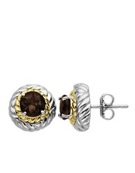 Lord And Taylor Smoky Quartz Earrings In Sterling Silver With 14K Yellow Gold Smokey Quartz Silver