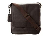 Kenneth Cole Reaction Columbian Leather Vertical Flapover Tablet Case Dark Brown Messenger Bags