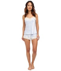 Lauren Ralph Lauren Satin Cami Top Pajama Set Paisley Blue Ivory Ground Women's Pajama Sets White
