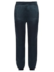 Sonia Rykiel Slim Leg Satin Trousers Navy
