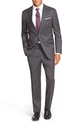 Peter Millar Classic Fit Windowpane Wool Suit Charcoal