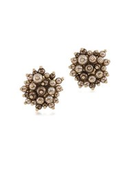 Carolee Faux Pearl Button Clip On Earrings Gold