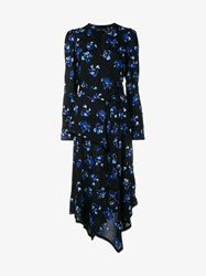 Proenza Schouler Falling Flower Print Dress With Asymmetrical Hem Black Multi Coloured Blue Yellow