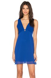 Bcbgeneration Deep V Fit And Flare Mini Dress Blue
