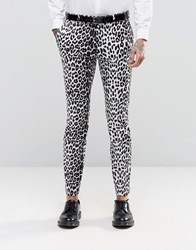 Religion Super Skinny Smart Trousers In Leopard Print Gray