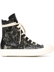 Rick Owens Drkshdw Shiny Hi Top Sneakers Black
