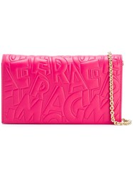 Salvatore Ferragamo Embossed Logo Clutch Pink And Purple