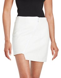 Kendall Kylie Asymmetric Zip Leather Mini Skirt White