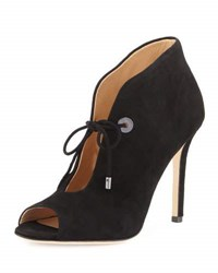 Badgley Mischka Nonna Suede Open Toe Bootie Black