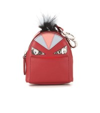Fendi Bag Bugs Backpack Leather And Snakeskin Fur Trimmed Charm Red