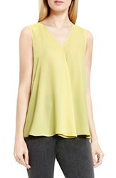 Vince Camuto Women's Drape Front V Neck Sleeveless Blouse Shadow Green