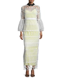 Self Portrait Long Sleeve Art Deco Lace Maxi Dress White Size 0