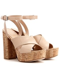 Gianvito Rossi Mytheresa.Com Exclusive Suzie Patent Leather Platform Sandals Beige