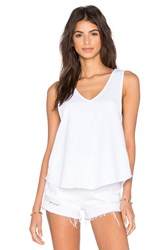 Bobi Lightweight Cashmere Terry Strappy V Neck Tank White