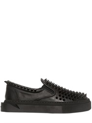 Gienchi Stud Rubberized Leather Slip On Sneakers