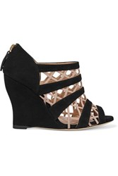 Valentino Leather Trimmed Suede Wedge Sandals Black
