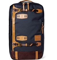 Master Piece Potential Convertible Leather And Suede Trimmed Canvas Backpack Navy