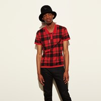 Coach Plaid Henley Collar Polo Red Plaid