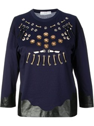 Toga Pulla Embroidered Eyelet Blouse Blue