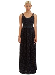 Fendi Long Floral Embroidered Dress Black