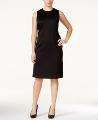 Calvin Klein Plus Size Mesh Inset Knitted Sheath Dress Black