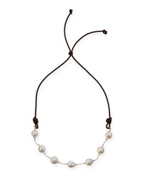 Baroque Pearl Leather Necklace 29'L Margo Morrison White