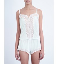 Eberjey I Do Jersey And Lace Teddy White Bridal Blue