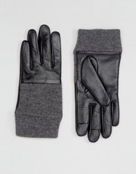 Asos Leather And Knit Mix Gloves With Touch Screen Black