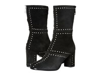 Just Cavalli Studded Suede Leather Bootie Black Women's Zip Boots