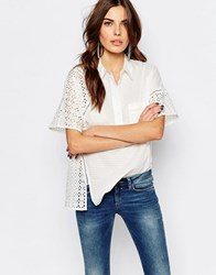 French Connection Warrior Shirt In Broderie Summer White
