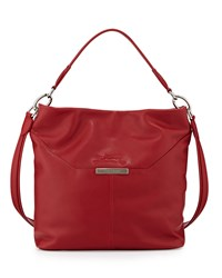 Le Foulonne Leather Hobo Bag Vermillion Longchamp