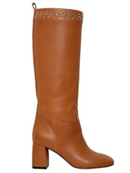 Red Valentino 70Mm Tumbled Leather Boots W Eyelets