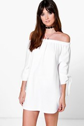Boohoo Off The Shoulder Tie Sleeve Shift Dress White