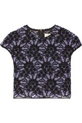 Lela Rose Embroidered Cotton Blend Lace Top Purple