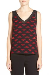 Anne Klein Printed Chiffon Mesh Trim Tank Red