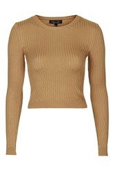 Topshop Tall Rib Crop Jumper Camel
