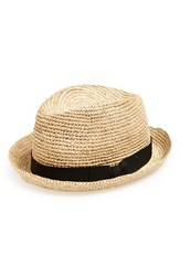 Men's John Varvatos Star Usa Straw Fedora Cork Black