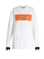 Alexander Wang Girls Embroidered Oversized Cotton Sweatshirt White