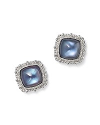 Judith Ripka Sterling Silver Rapture Doublet Stud Earrings With London Blue Spinel And Mother Of Pearl Blue Silver